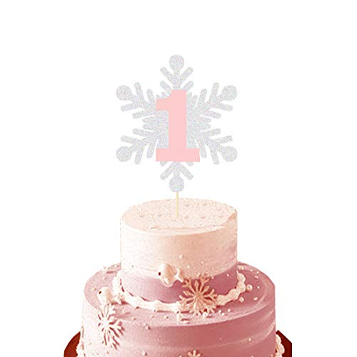 HEETON Winter Onederland Cake Topper Silver Snowflake Winter First Birthday Snowflake One Pink 1st Party Decorations Supplies Baby Boy Girl