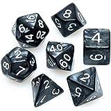 Kit de dados: RPG - Marmorizado Preto / Branco