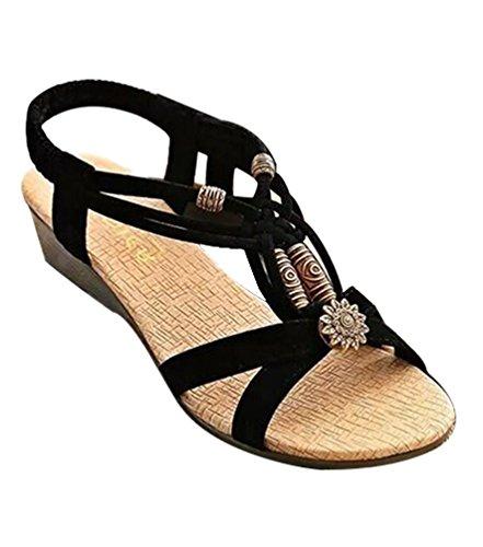 de Noir Bohemian lanière compensées Perlé T en Chaussures Peep Plage Toe Cheville YOUJIA Sandales Slingback x7Y6Eqwn