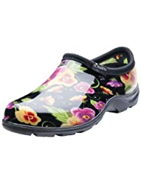 Sloggers 5114BP09 Women's Rain and Garden Shoes with Comfort Insole, Size-9, Pansy Print Black