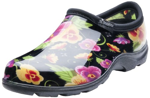 Sloggers Women's Waterproof Rain and Garden Shoe with Comfort Insole, Pansy Black, Size 7, Style 5114BP07