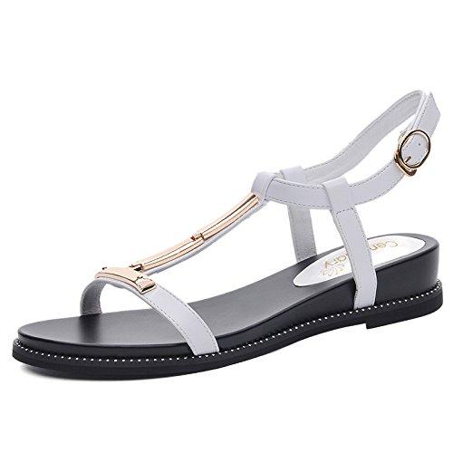 white Roma Verano KPHY Tacón Mujer Estudiantes De Plano Zapatos Comodidad Fondo Medio Sandalias pUxH7wIq