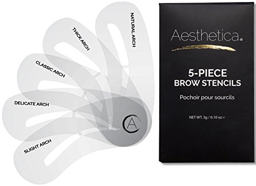 Aesthetica 5-piece Brow Stencils - Easy-to-use Eyebrow Shaping & Defining Stencils - Step By Step In
