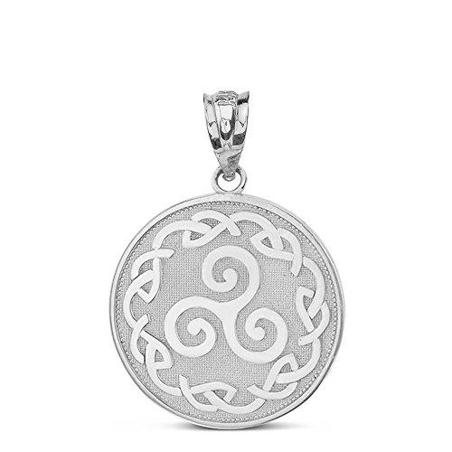 - Solid 14k White Gold Triskele Triskelion Triple Spiral Celtic Knot Disc Charm Pendant