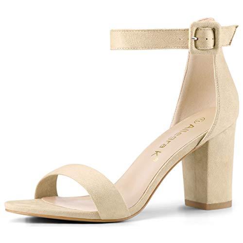 Allegra K Women's Open Toe Chunky High Heel Ankle Strap Sandals (Size US 7) Beige -