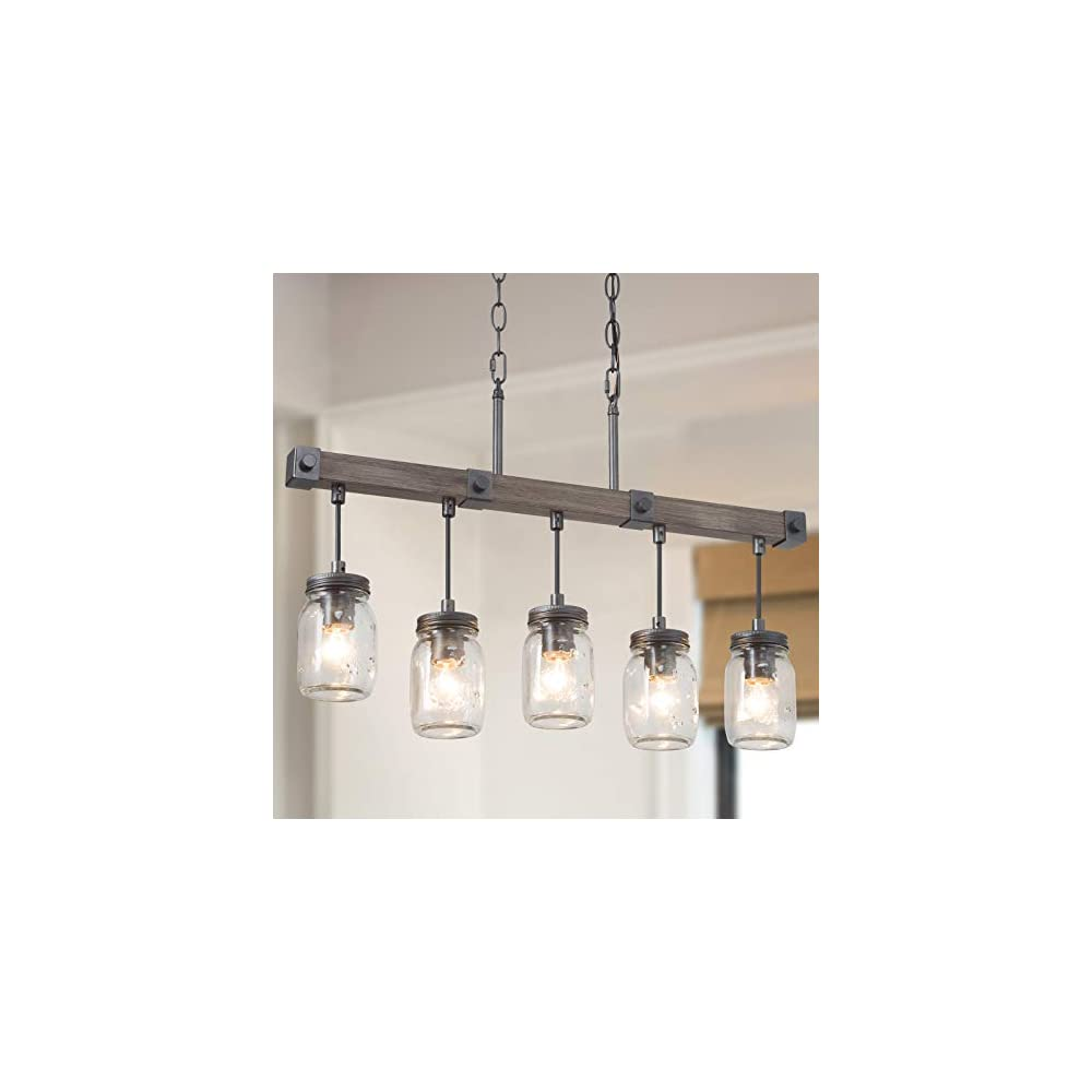"""Mason Jar Chandelier, 5-Light Farmhouse Chandelier for Dining Room, 25.5"""" Rustic Island Lighting with Clear Glass Globes"""