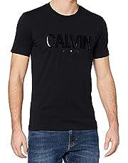 تي شيرت رجالي من Calvin Klein مطبوع عليه FLOCK Calvin SLIM STRETCH S/S، أسود، مقاس كبير