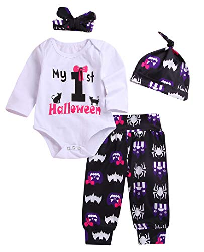4Pcs Baby Girls Boys Clothes My 1st Halloween Romper Cat Tops Pumpkin Bat Pants with Hat and Bunny Headband Outfit Set (Purple, 3-6M)