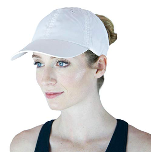 ChicPlay Active - Ponytail Messy Bun Baseball Cap for Women | The Ultimate Ponytail Hat (White)