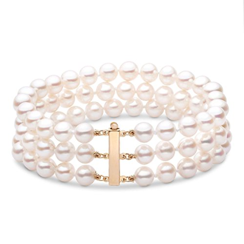 6.5-7.0 mm White Freshwater AAA Cultured Pearl Triple-Strand Bracelet - 7 inch - 14K Yellow Gold