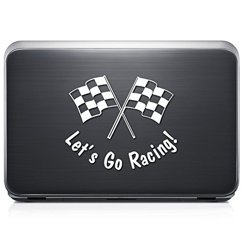 Nascar Window - Let's Go Racing Checkered Flag Nascar Indy PERMANENT Vinyl Decal Sticker For Laptop Tablet Helmet Windows Wall Decor Car Truck Motorcycle - Size (12 Inch / 30 Cm Wide) - Color (Gloss Black)