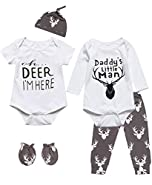 6 Pieces Outfit Set Baby Boys' Funny Deer Print Romper