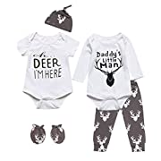 Mini Era 6 Pieces Outfit Set Baby Boys' Funny Deer Print Romper (0-3 Months, White03)
