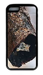 iPhone 5C Case, Personalized Protective Rubber Soft TPU Black Edge Case for iphone 5C - Squirrel Hide Cover