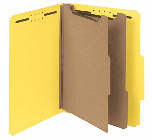 2 Pressboard Divider (Smead 100 Percent Recycled Pressboard Classification Folder, 2 Dividers, 2-Inch Expansion, Letter Size, Yellow, 10 per Box (14064))
