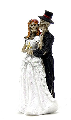 Love Never Dies Eternal Skeleton Wedding Dance Couple Figurine Sculpture Dias De Los Muertos Day of the Dead Decor