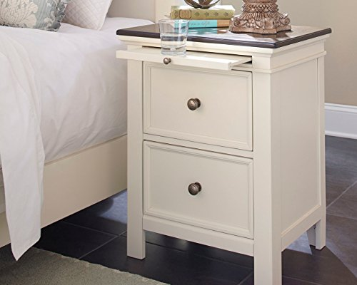 Woodanville Two Drawer Night Stand White/Brown/Casual by Ashley Furniture