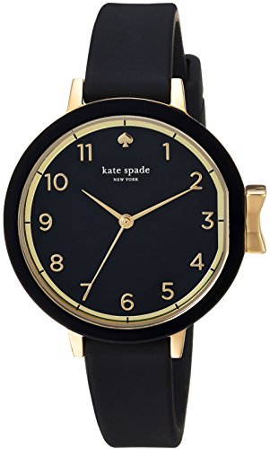 kate spade new york Women's Park Row Silicone Stainless Steel Japanese-Quartz Watch with Strap, Black, 12 (Model: KSW1352) (Designer Watch Womens)