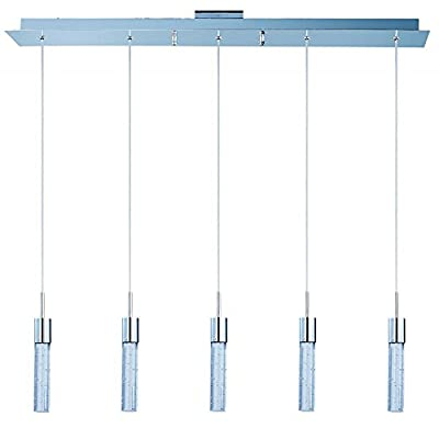ET2 Lighting E22774-91PC Pendant with Bubble Detailed Glass Shades, Polished Chrome Finish
