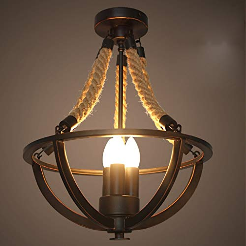 Basket Semi Flush - ChuanHan Pendant Lighting Fixture Pendant Lamps Rustic Hemp Rope Iron Basket Semi Flush Mount Chandelier Black Ceiling Light with 3 Candle Light, 3847cm