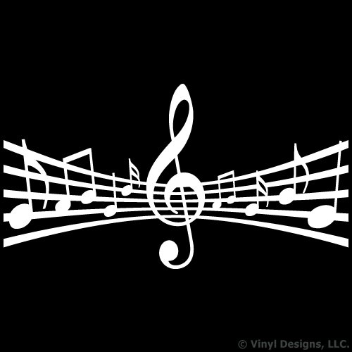 Staff with Clef and Music Notes Vinyl Wall Decal Sticker Art, Studio, Home Decor, Mural (Best Trailer Music Composers)