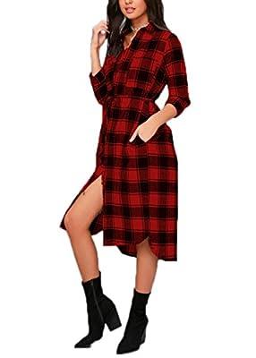 Celmia Women's Long Sleeve Classic Plaid Midi Dress Plus Size Shirt Dress Wrap Dress With Pockets