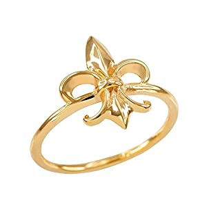 dainty 14k yellow gold fleur de lis ring jewelry