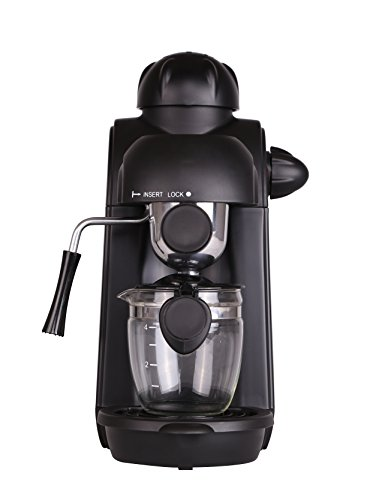 Coffee Maker, 4 Cup Stainless Steam Espresso Espresso Cappuccino Latte Coffee Machine with Milk Frother and Carafe, Carafe Included by Lambow (Image #1)