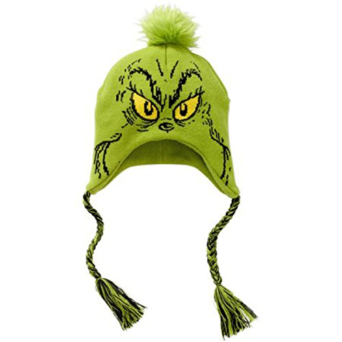 Dr. Seuss Grinch Winter Beanie Laplander Hat One (Grinch Hat)