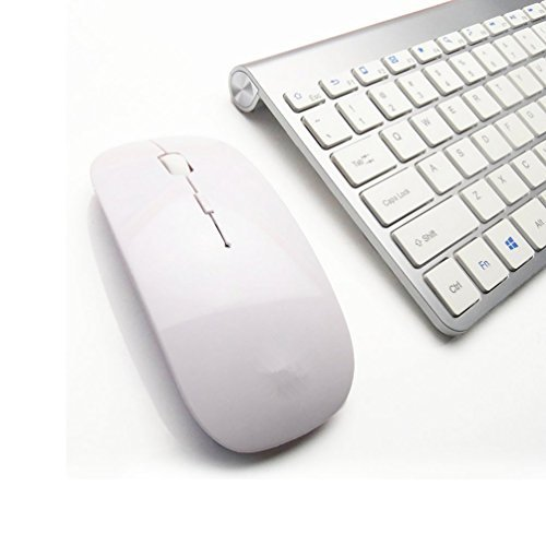 Morrivoe Ultra-thin Mini Keyboard Suit 2.4 G Wireless Keyboard- Keyboard and Mouse Combo Bundle(Silver )