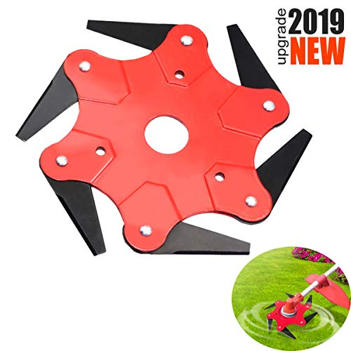 PASNOWFU 2019 Upgrade Strengthen Hardness 6 Teeth Trimmer Grass Head Cutter, Trimmer Grass Head Cutter 6 Steel Blades Razors Tooth 65Mn Lawn Mower Lawn Mower Grass Weed Eater Brush Cutter Tool (RED)