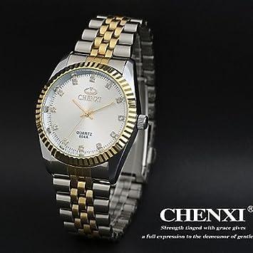 Relojes Hermosos, Vestido elegante diseño de los hombres chenxi® correa de reloj de acero resistente al agua de cuarzo japonés (Color : Blanco) : ...