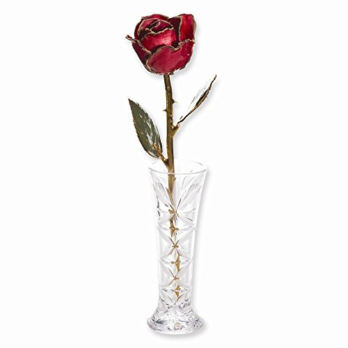 JE Beautiful Lacquer Dipped 24k Gold Trim Red Rose & Small Bud Vase Set ()