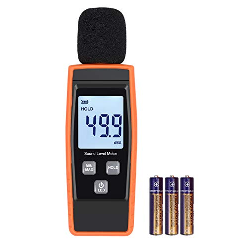 LiNKFOR Decibel Meter Digital Sound Level Tester Noise Meter Measurement Range 30dBA -130dBA Max/Min Hold Function, LCD Display, Batteries Included Decibel Monitoring Tester