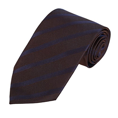 (Dan Smith DAA7A02C Brown Blue Stripes Gift For Boss Necktie Microfiber Youth Tie For Working Day)