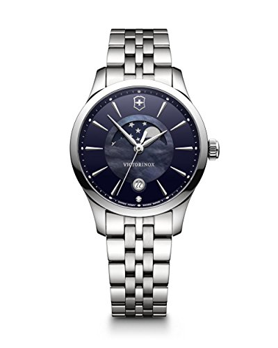Victorinox Swiss Army Alliance 35MM Blue Mother-of-Pearl Face Date Moon Phase Stainless Steel Womens Swiss Watch 241752