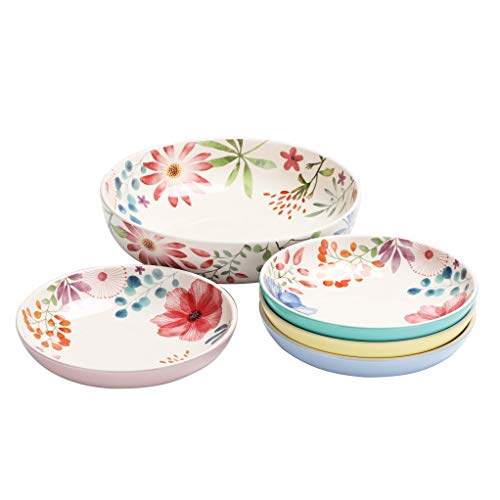 Bico Flower Carnival Ceramic Pasta Bowl, Set of 5