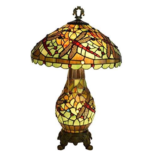 Dragonfly Tiffany estilo lámpara de mesa de vidrio manchado con 16 ...