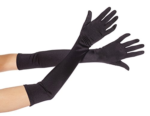 Extra (Black Extra Long Satin Gloves)