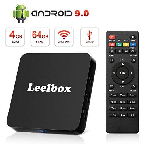 Android TV Box 9.0, 4GB+64GB Leelbox Q4 Plus Quad Core Smart TV Box Support USB 3.0/BT 4.1/2.4GHz WiFi/3D/4K/H.265