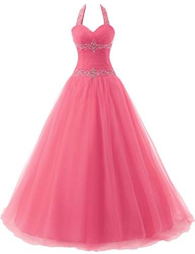 Gown Ball Open Back Quinceanera Party Dress Beading Pink Halter JAEDEN Prom Dress Long Tulle wE5661