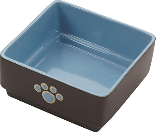 Ethical Pet Products (Spot) DSO6932 Stoneware 4-Square Dog Dish, 5-Inch, Blue