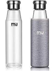 MIU COLOR® Stilvolle Tragbare 700ml Glasflasche Größere Kapazität Trinkflasche mit Nylon-Tasche für Auto, ohne Teesieb