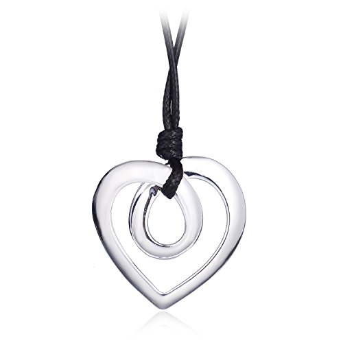 welbijoux Heart Shape Long Pendant Necklace Silver Plated Black PU Leather Rope Long Chain Necklace for Women Teens Girl