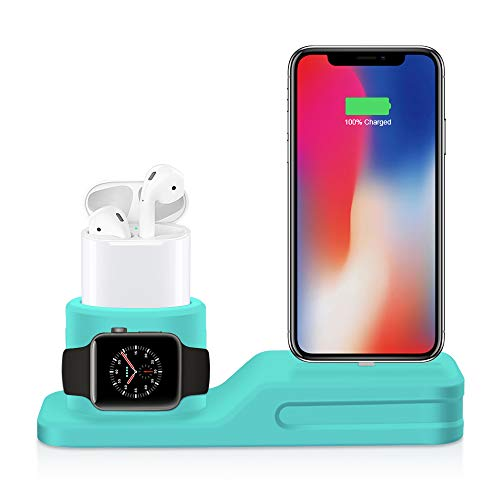 ZALU Phone Stand Charging Dock, 3 in 1 Premium Silicone Stand Compatible with Airpods & Apple Watch & iPhone (Mint Green)