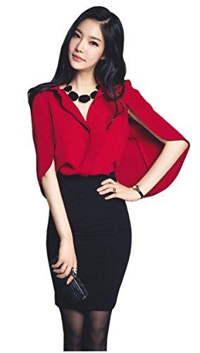 みがきます療法カード(アンココ)Angcoco Women's Elegant Bat Sleeve Blouse Top + Bodycon Skirt 2-Piece Suit Set