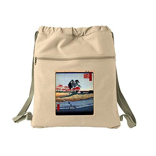 Plum Garden, Kamata (Hiroshige) Canvas Dyed Sack Backpack -