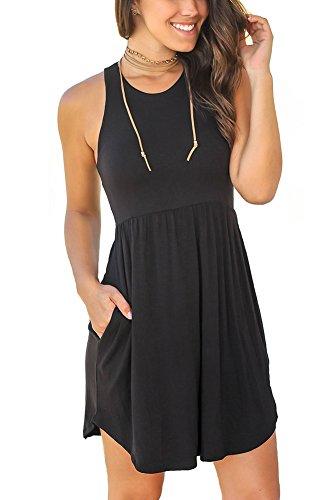 Unbranded Womens Sleeveless Loose Plain Dresses Casual Short Dress