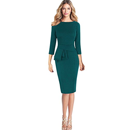 Sinfu Women Elegant Frill Peplum 3/4 Gown Sleeve Work Business Party Sheath Dress (L: Bust: 98cm/38.6