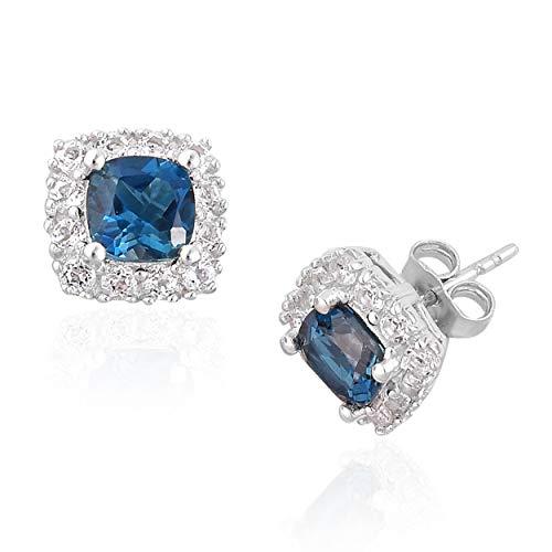 London Blue Topaz Earrings 6 MM Cushion Shape - White Topaz Halo in Sterling Silver